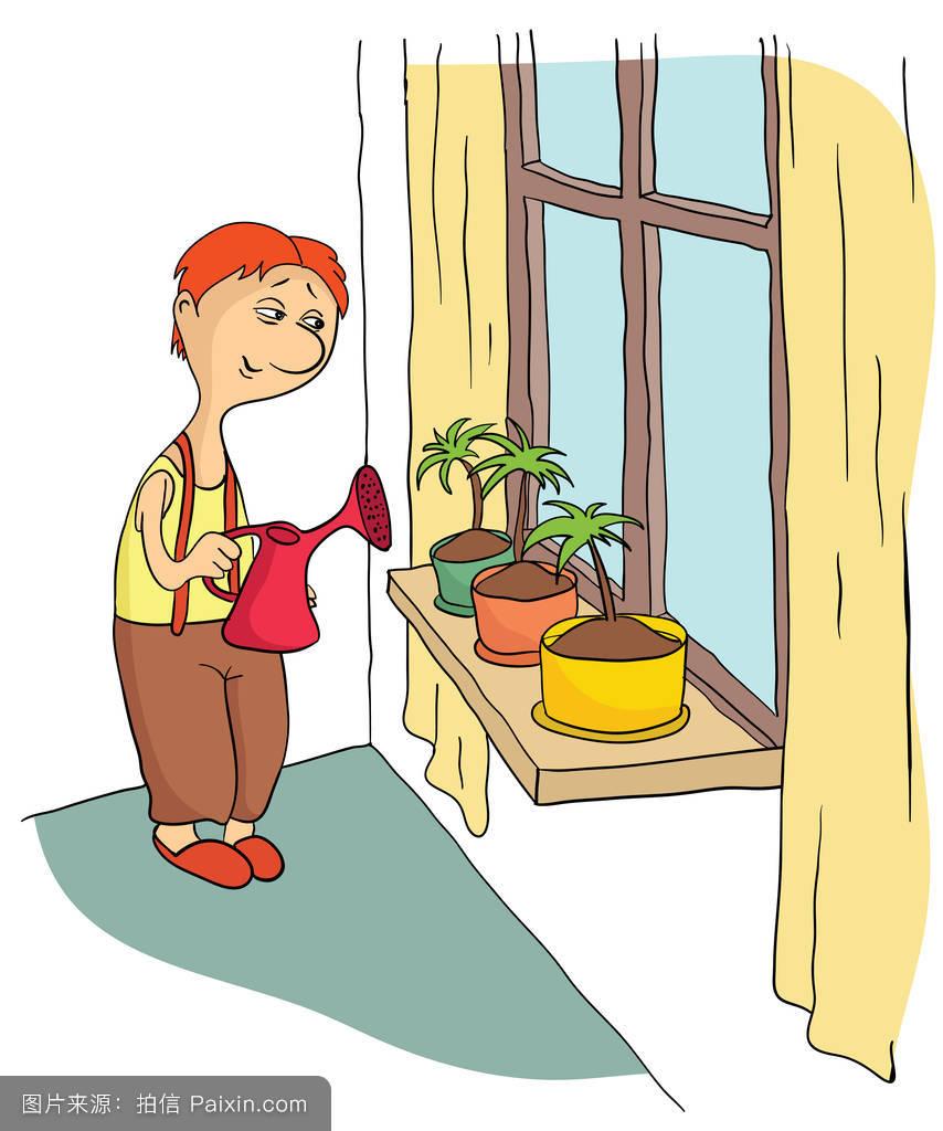 站在窗台上浇花的年轻人.矢量插画.图片