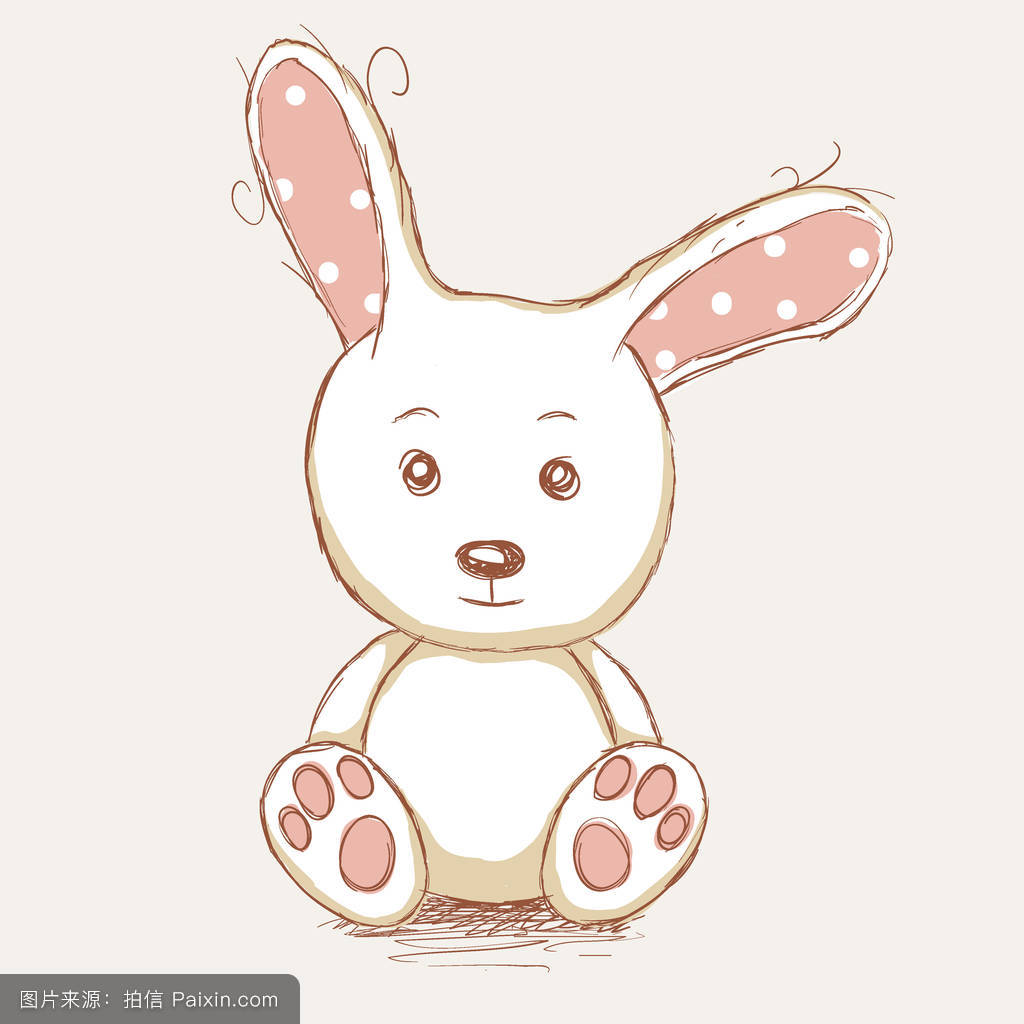 卡片,假日,童年,兔子,绘画,礼物,春天,可爱的,手拉的,白色,水彩画图片