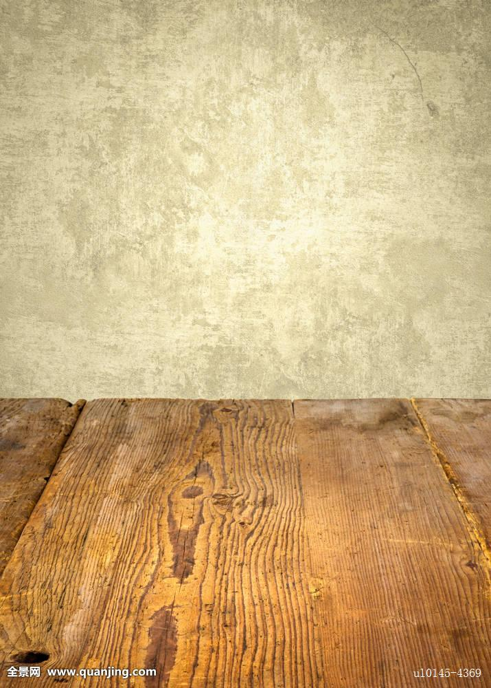 老式,木桌子,正面,风化,墙壁图片