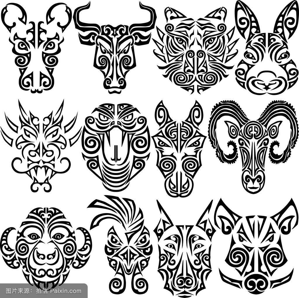 猪,标志,符号,传统的,t恤,面对,阿兹台克,生肖,龙,头,马,猴子,图解的图片