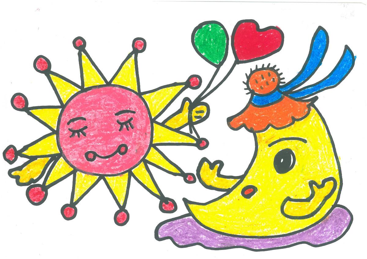 儿童画,绘画,卡通,矢量图,太阳,星星,友谊,月亮,宇宙,绘画艺术品图片图片
