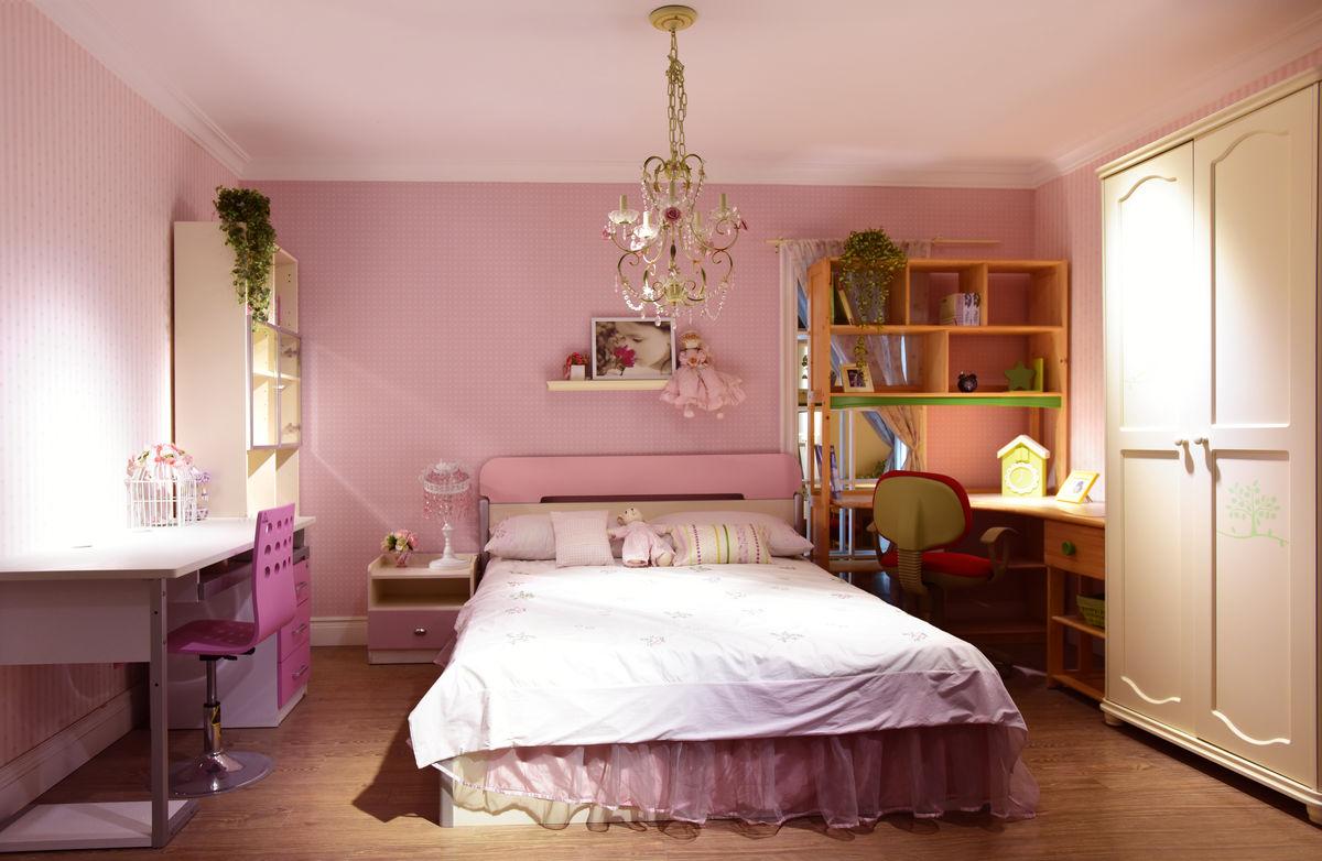 温馨清新风格,甜美可爱风格,卧室一角,儿童床,室内装饰,室内设计,装修