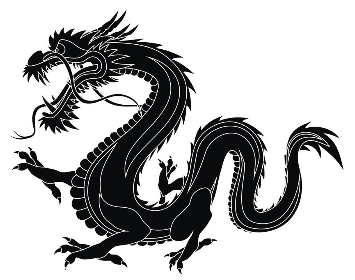 抽象,传统,中国,怪物,绘画插图,龙,轮廓,神话,矢量图,纹身,鲜艳,亚图片