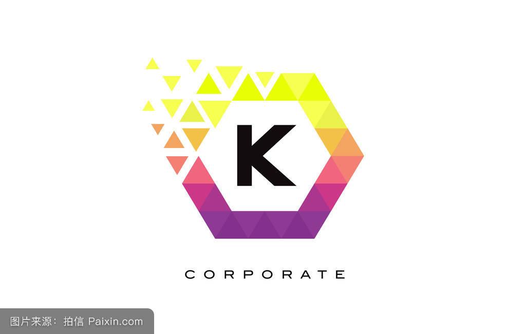k彩色六边形字母标志设计.图片