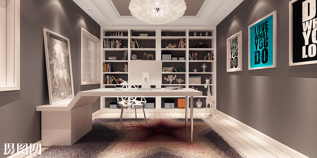 书房,室内设计,现代风格,简约,北欧风格,室内,灯,室内装修,房间,装潢图片