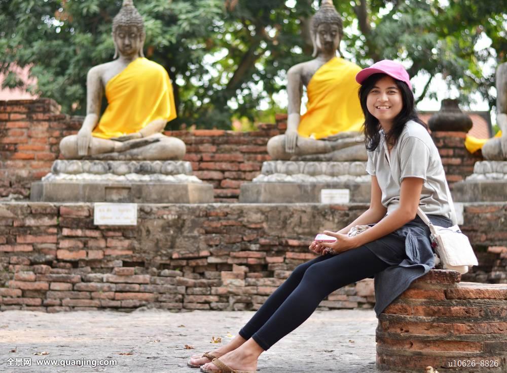 美女女孩佛寺院庙宇大城府泰国