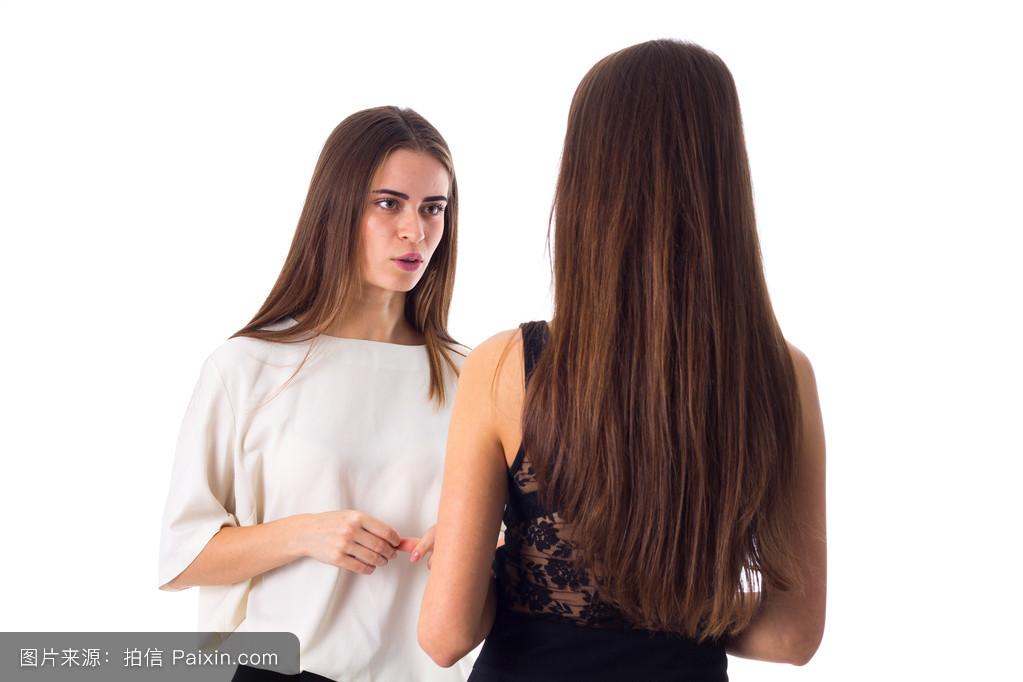 说话,女人,冒充,棕色的,美丽的,聊天,头发,站立,会话,伙计,享受,白色图片