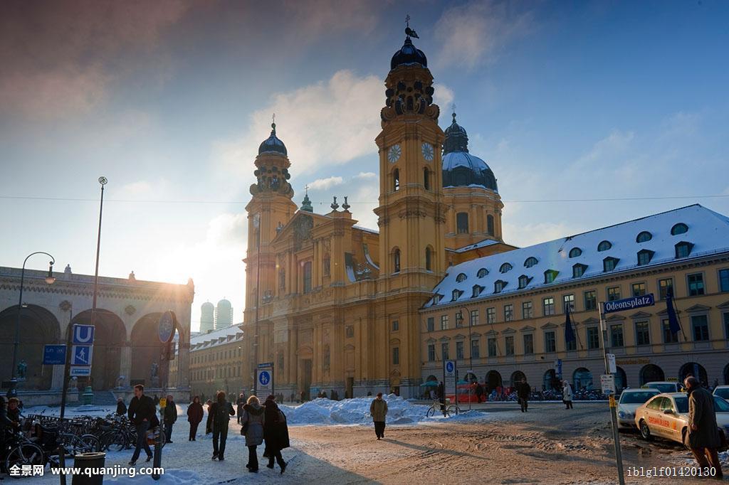 教堂,奥德翁广场,冬天,慕尼黑,巴伐利亚,德国,欧洲图片