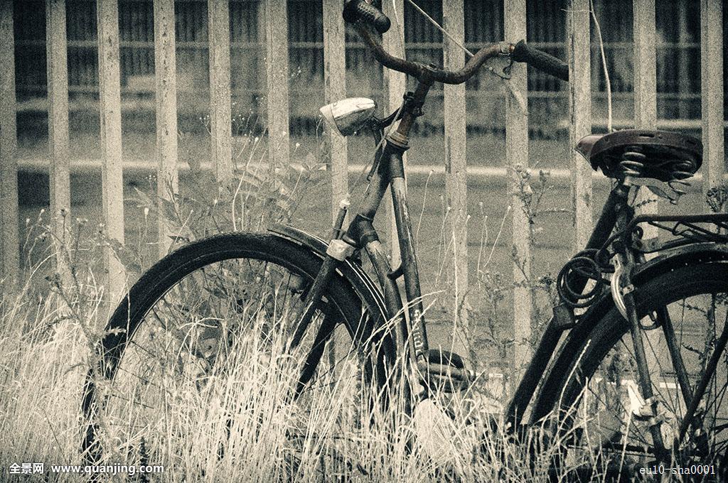 自行车,黑白,电脑合成,欧洲,德国,倚靠,曼海姆,单色调,旧式图片