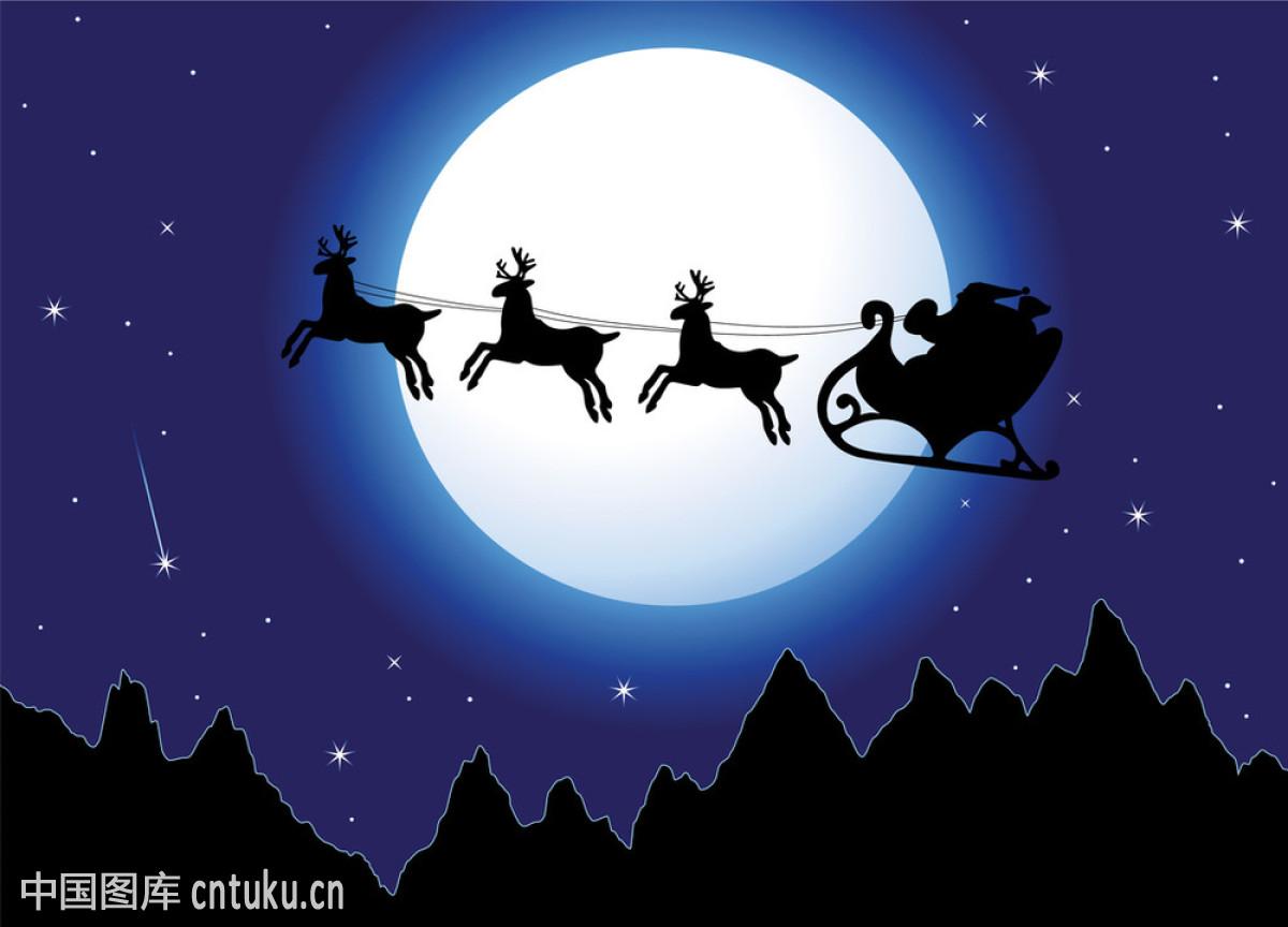 庆祝,山,圣诞节,矢量图,天空,问候,星星,幸福,雪,驯鹿,夜晚,幽默,月亮图片