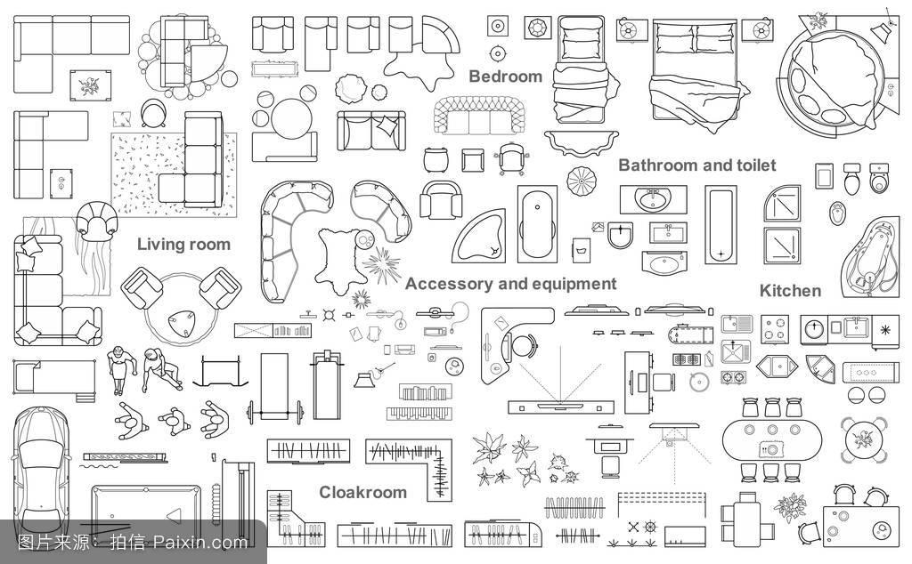 一套公寓顶层家具平面图.户型设计,技术制图.图片