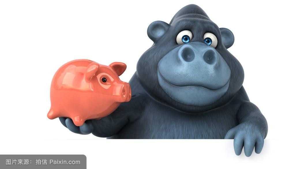 饮食,储蓄,脂肪,灵长类动物,野生动物,3d,经济,有趣的,银背大猩猩,钱图片