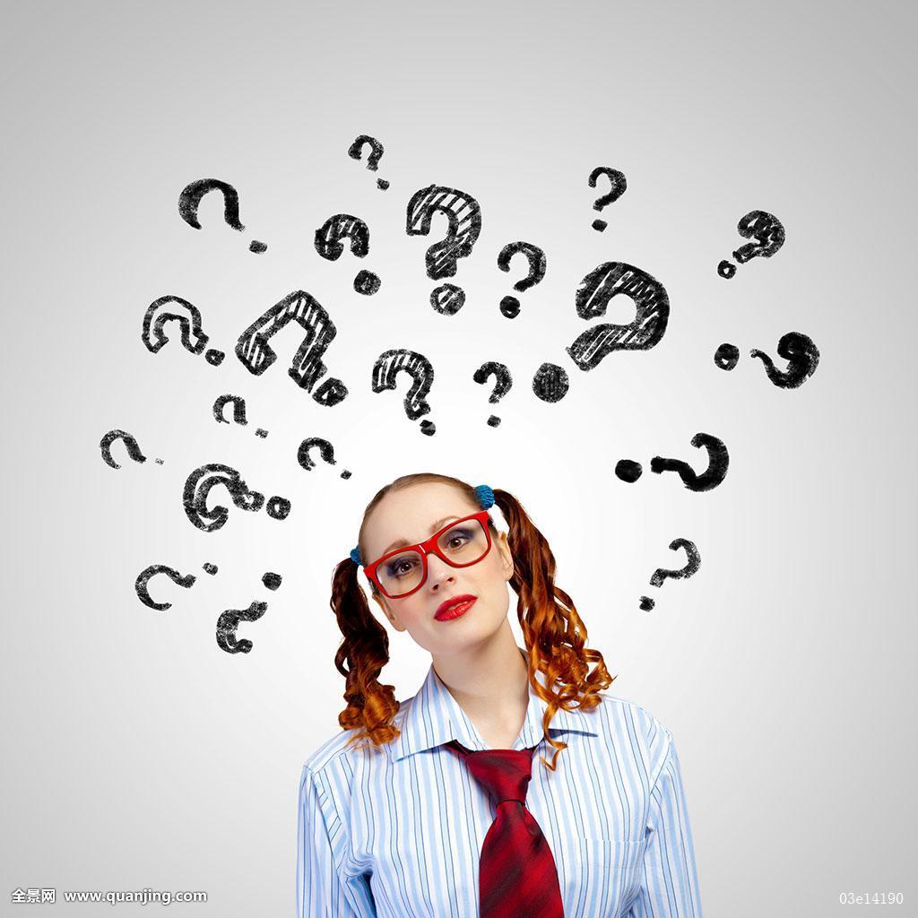 疑问,商务,白人,女人,站立,思考,概念,年轻,服务,女孩,问题,回答图片