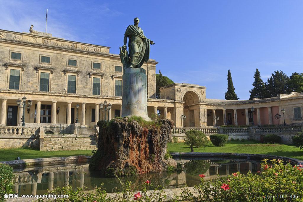 宫殿,皇宫,城市宫殿,雕塑,科孚岛,爱奥尼亚群岛,希腊群岛,希腊,欧洲图片
