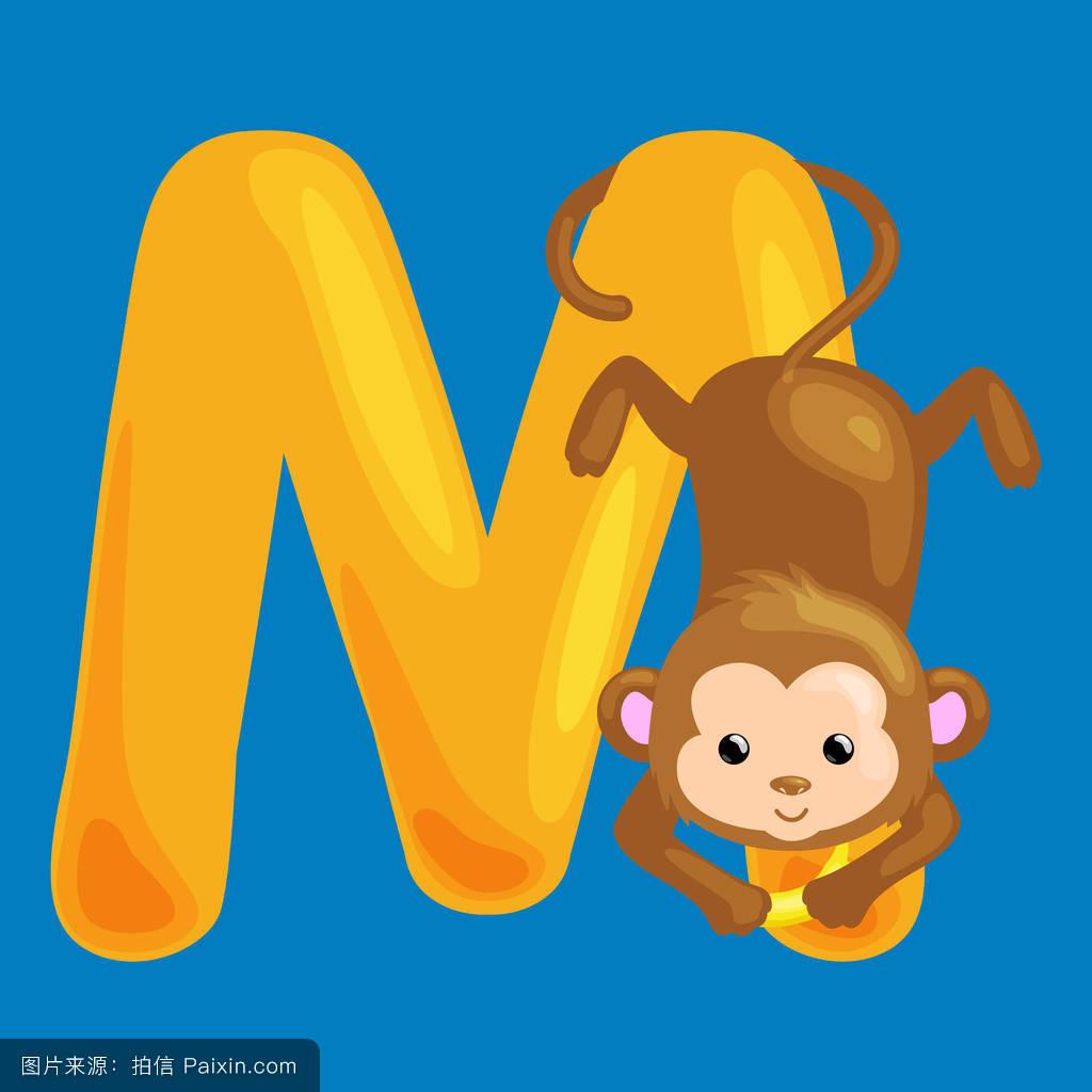 画猴子用什么颜色_卡通,性格,符号,背景,签名,字母表,自然,矢量,猴子,收集,幸福的,分离