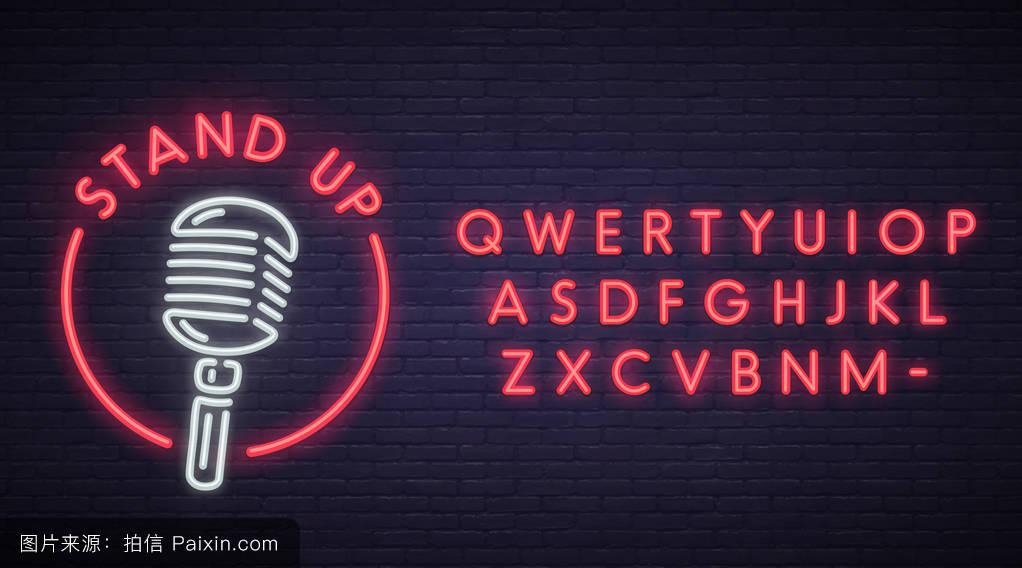霓虹灯文字编辑,霓虹灯,广告牌,字母表,执行,商业,标识,电的,麦克风图片