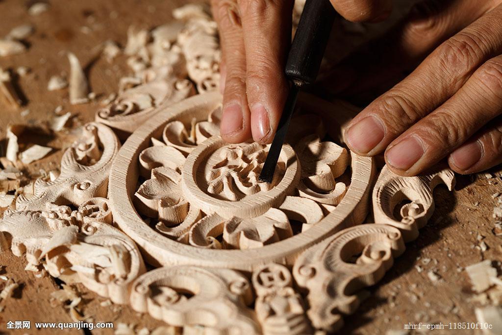 精致,工艺品,特写,刀子,福字,木雕,车间,手工艺品,圆形,雕刻品,创意图片