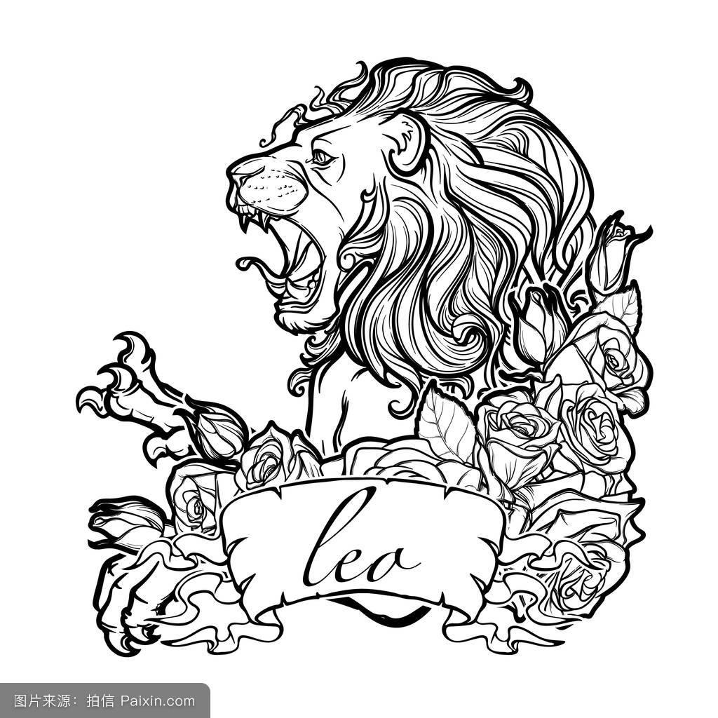 狮子座的纹身装傻稿手绘分享对金牛座女生暗示性表白她展示图片