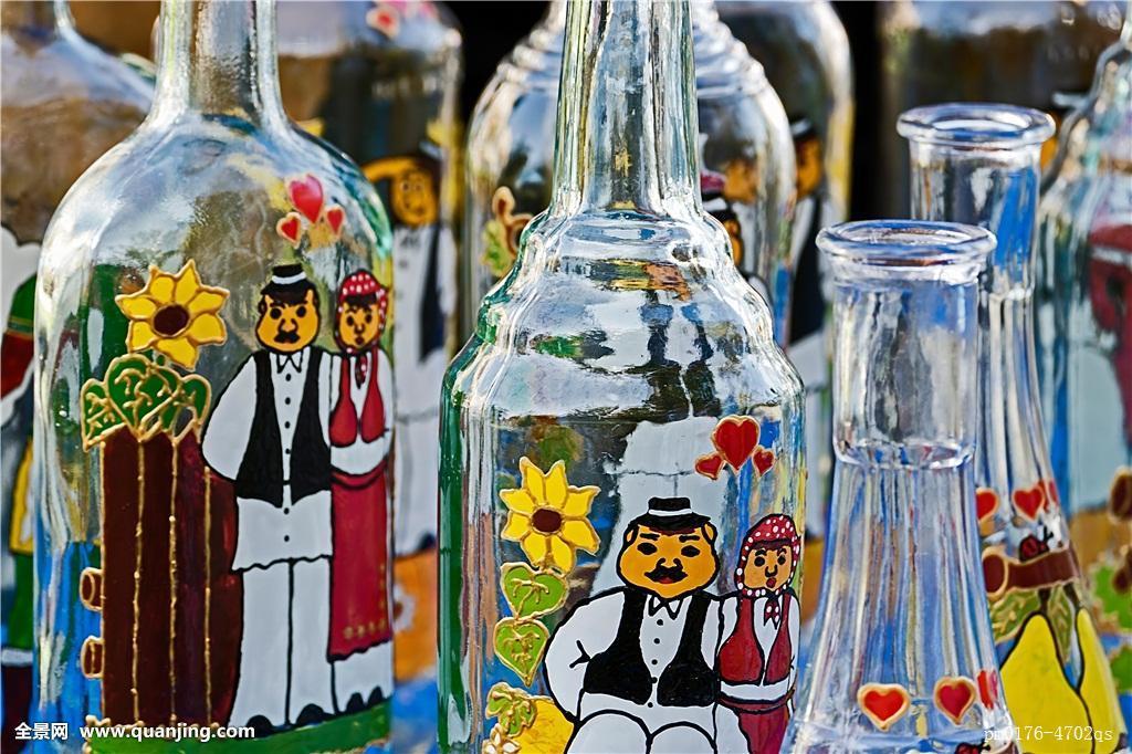 瓶子,涂绘,装饰,创意,手制,彩色,蓝色,玻璃杯,圣餐杯,大玻璃杯,杯子图片