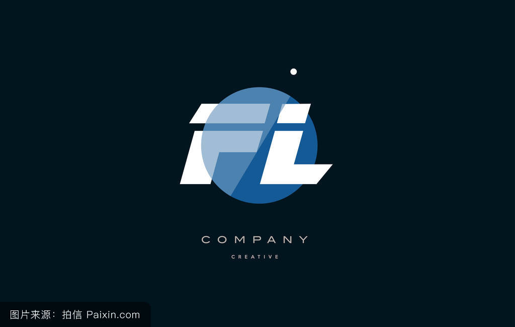 _fl f l蓝白圆大字体�