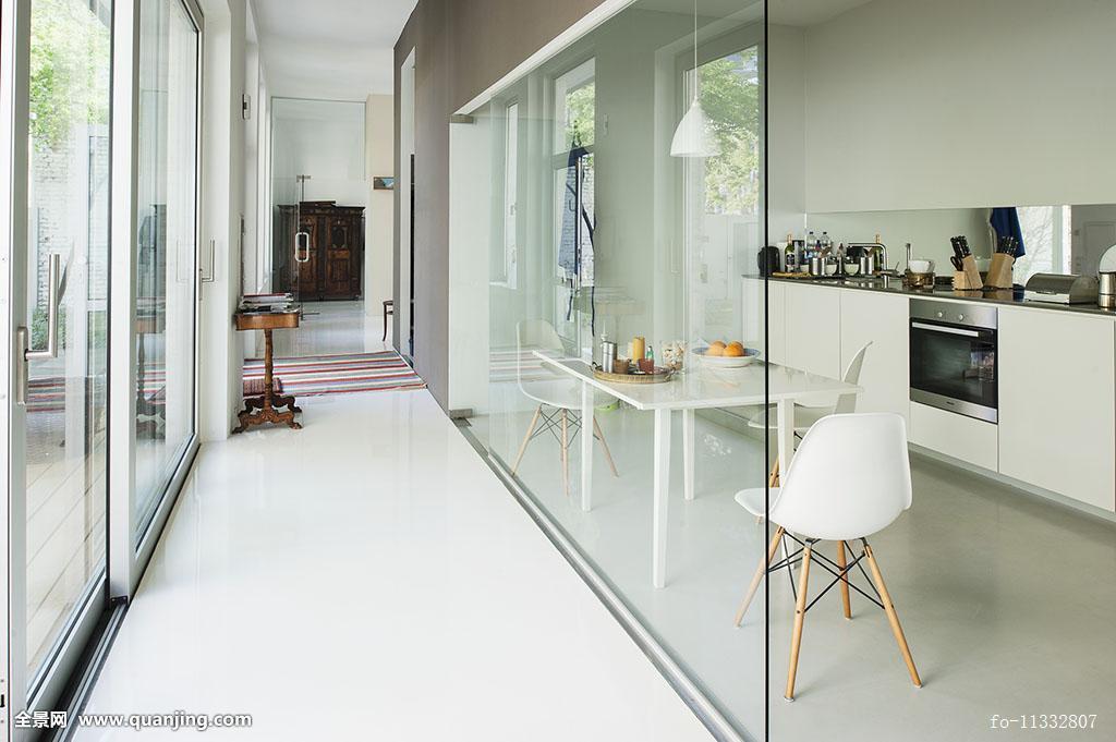 狭窄,走廊,玻璃墙,就餐,经典,白色,椅子,现代,厨房操作台图片