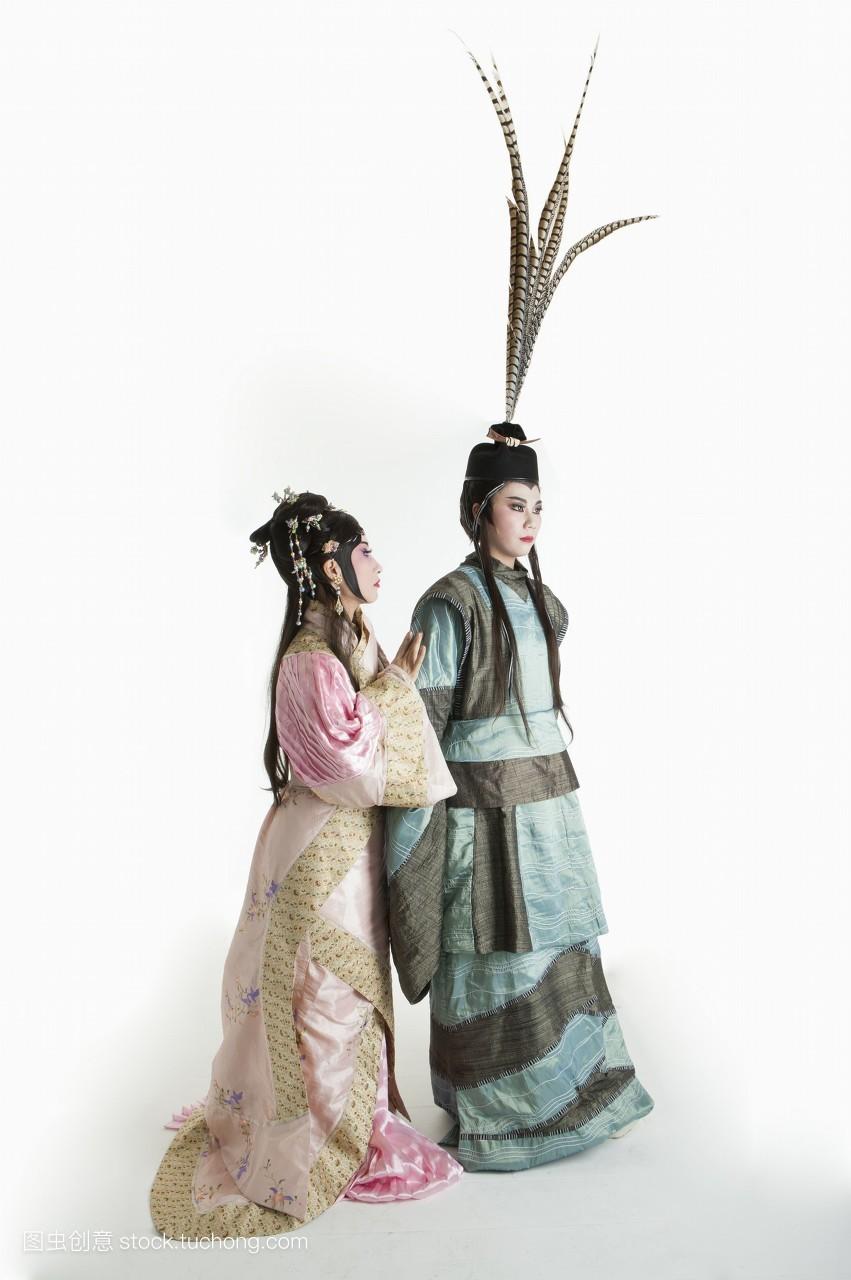 中老年女人,二个人,戏服,假发,古装,脸谱,女人,头饰,艺术,舞台妆,艺术图片