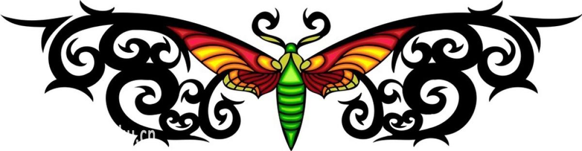 部落蝴蝶纹身.图片