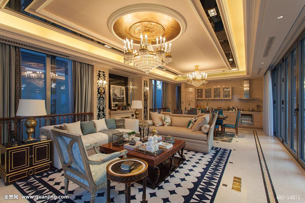 别墅 豪华客厅装修效果图2015