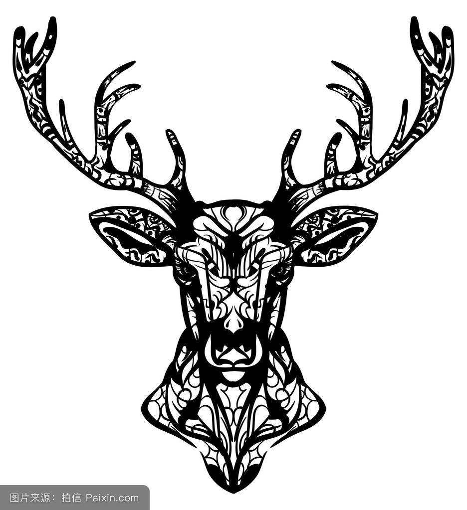 争斗中的雄鹿纹身_雄鹿纹身图案
