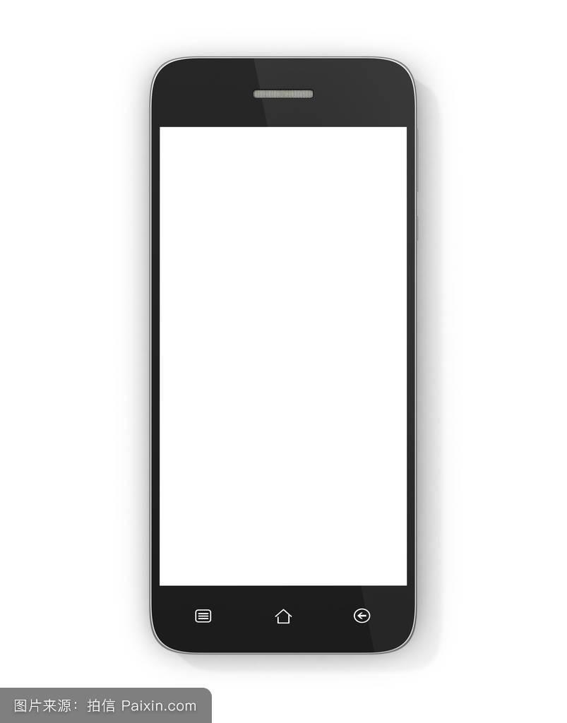 白色背景下的现代智能手机.通用移动智能手机