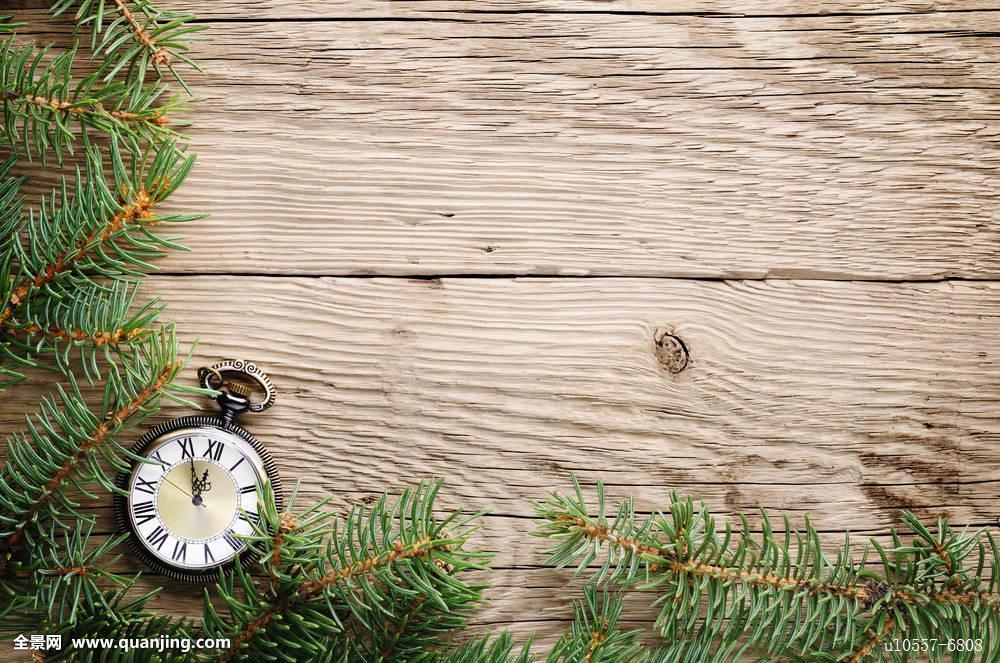 圣诞树,老式,手表,木质背景图片