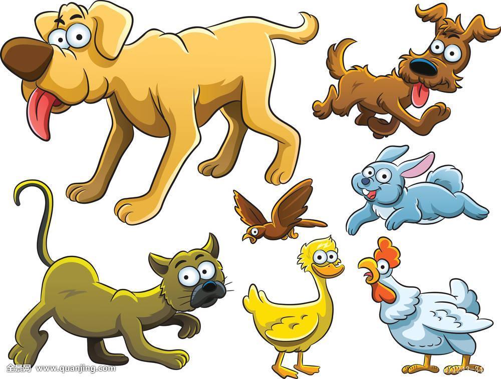 兔子小狗插画高兴狗动物猫兔子鸭子鸟鸡卡通猫科跑可爱很酷的动物动画片图片
