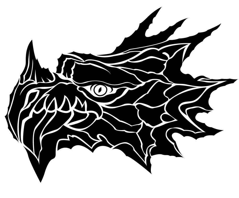 龙,头部,动物,蜻蜓,隔绝,象征,纹身,标识,龙图案,黑白,设计,装潢