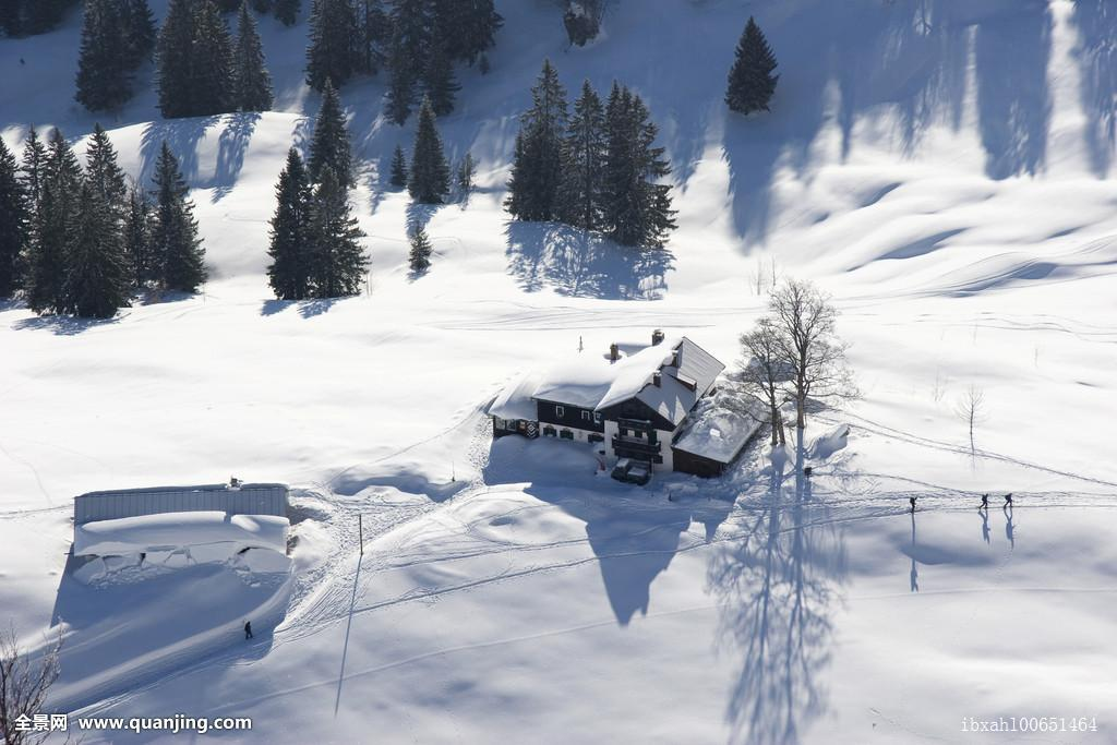 山,冬天,巴伐利亚,德国,欧洲图片
