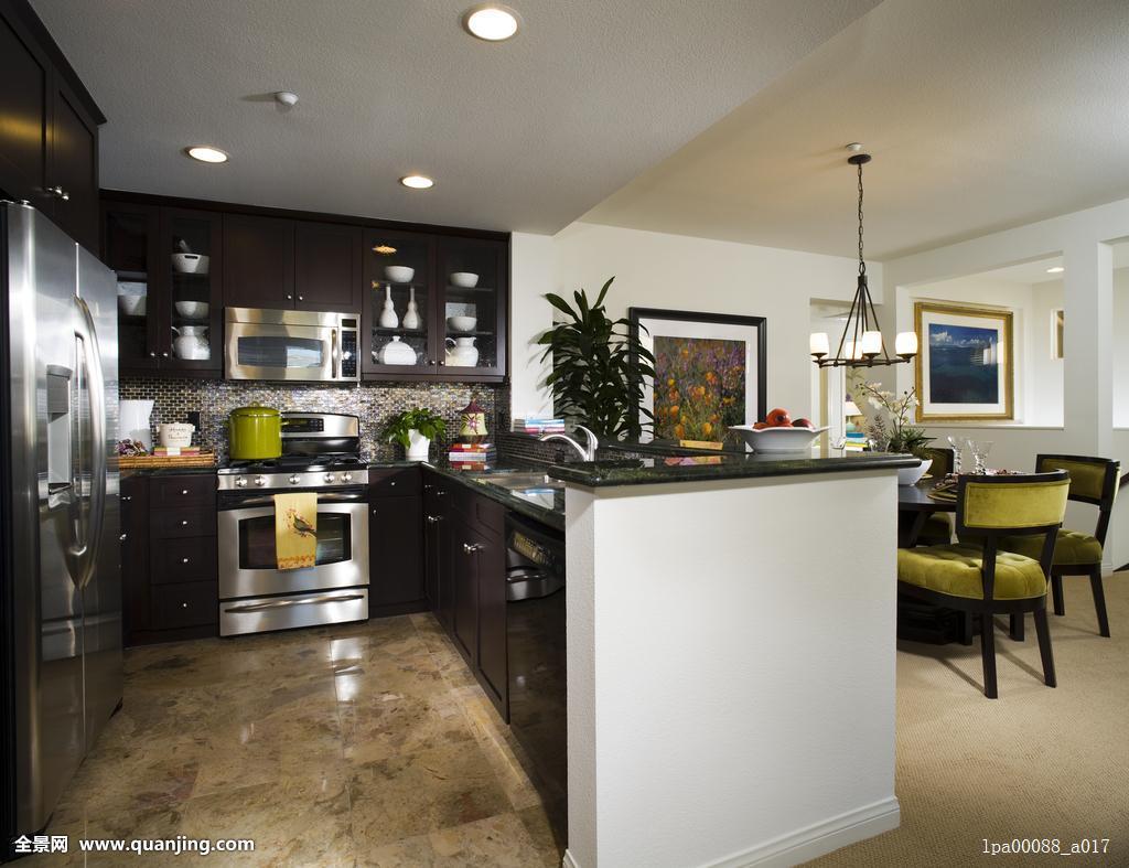 房子,现代,公寓,公寓式住宅,连栋别墅,联体别墅,厨房,柜子,冰箱,餐厅图片