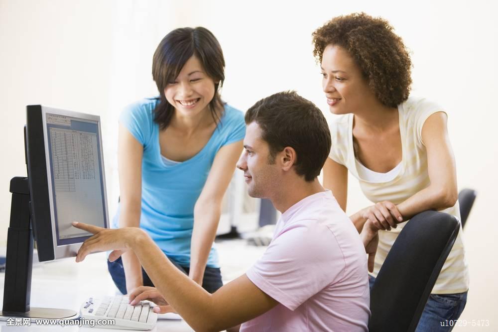 职员团队办公室工人雇员站立非洲美国人连衣裙白人中国人图片