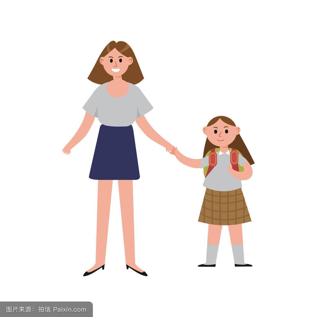 妈妈卡通_妈妈带女儿去学校卡通人物,快乐妈妈带着她的孩子插画