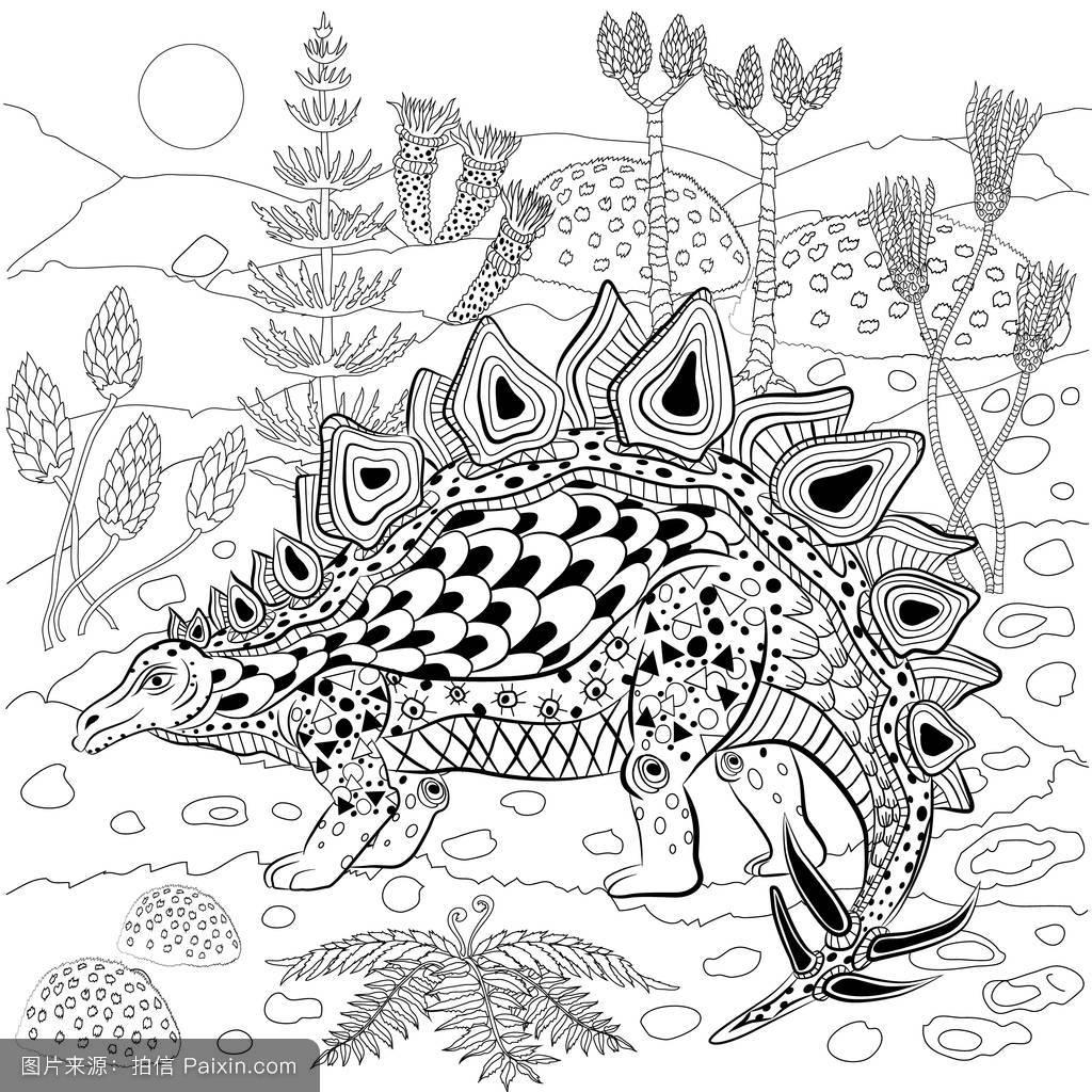 植物,灭绝,霸王龙,动物,三角龙,雷克斯,吓人的,插图,装饰,手,纹身图片图片