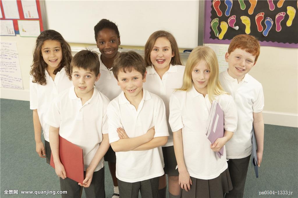 童_头像,学童,站立,教室