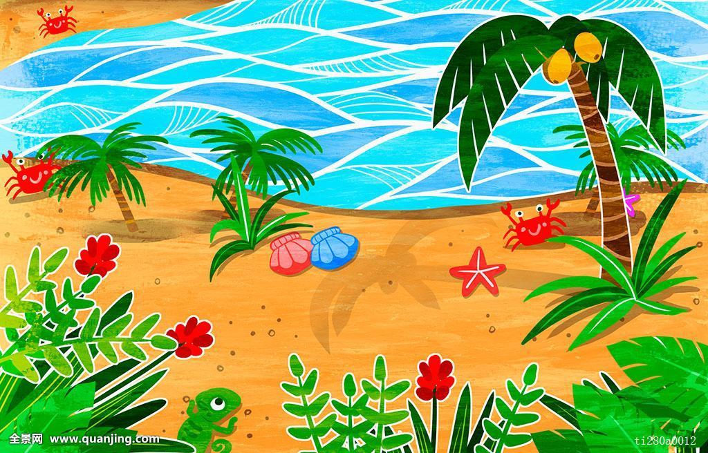 夏天,海滩,花,植物,海贝,螃蟹,海星,棕榈树,海洋图片