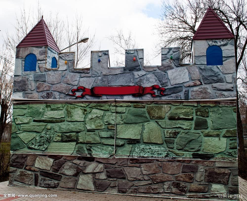城堡,背景,设计,建筑,石头,广告牌,塔,两个,孩子,游戏,公园,小,房子图片