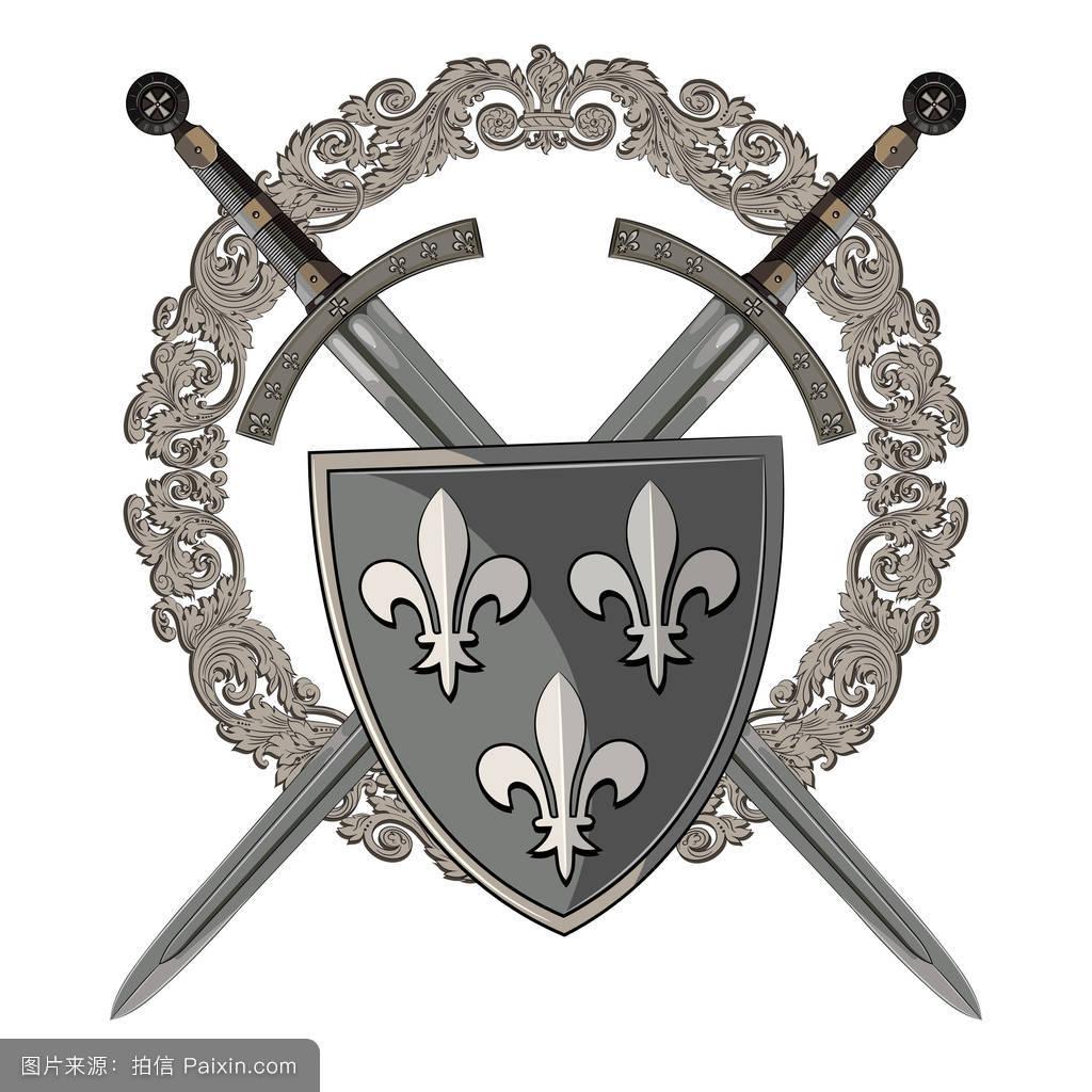 圆,钢,战斗,剑,圣骑士,十字军,中间的,安全,战争,铁,装甲,古代的,国王图片