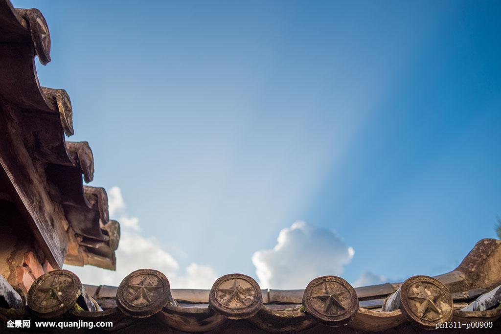 无人,全景,仰视,户外,建筑,中式建筑,古建筑,屋檐,瓦,瓦檐,房檐,蓝色图片