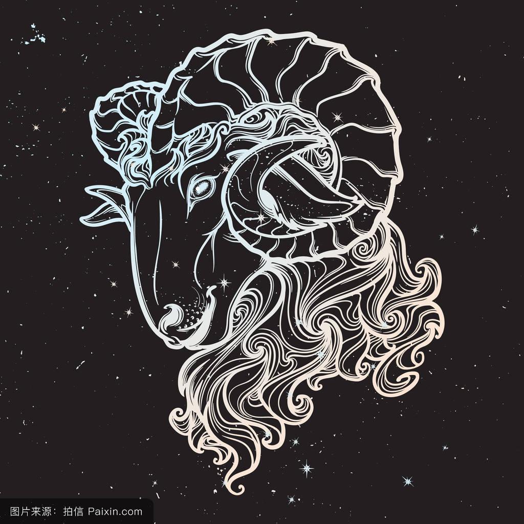 神话,墨水,纹理,标志,力量,符号,角,螺旋形的,垃圾,生肖,概念,矢量图片