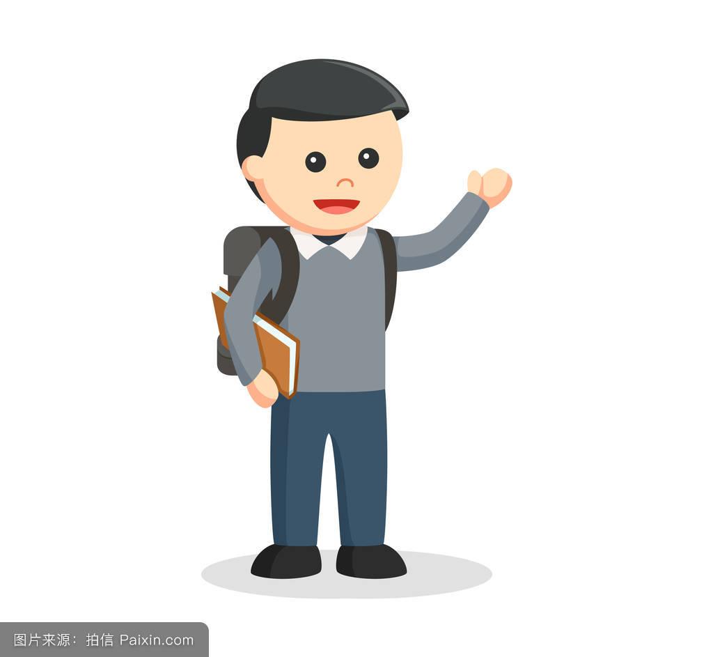 卡通,男性的,学生,快乐,打招呼,学校,幸福的,分离,站立,学习者图片
