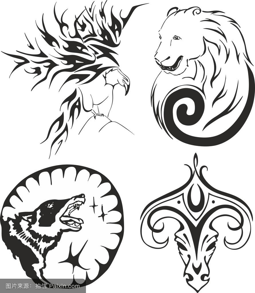 鹰,熊,狼和公羊的纹身图片