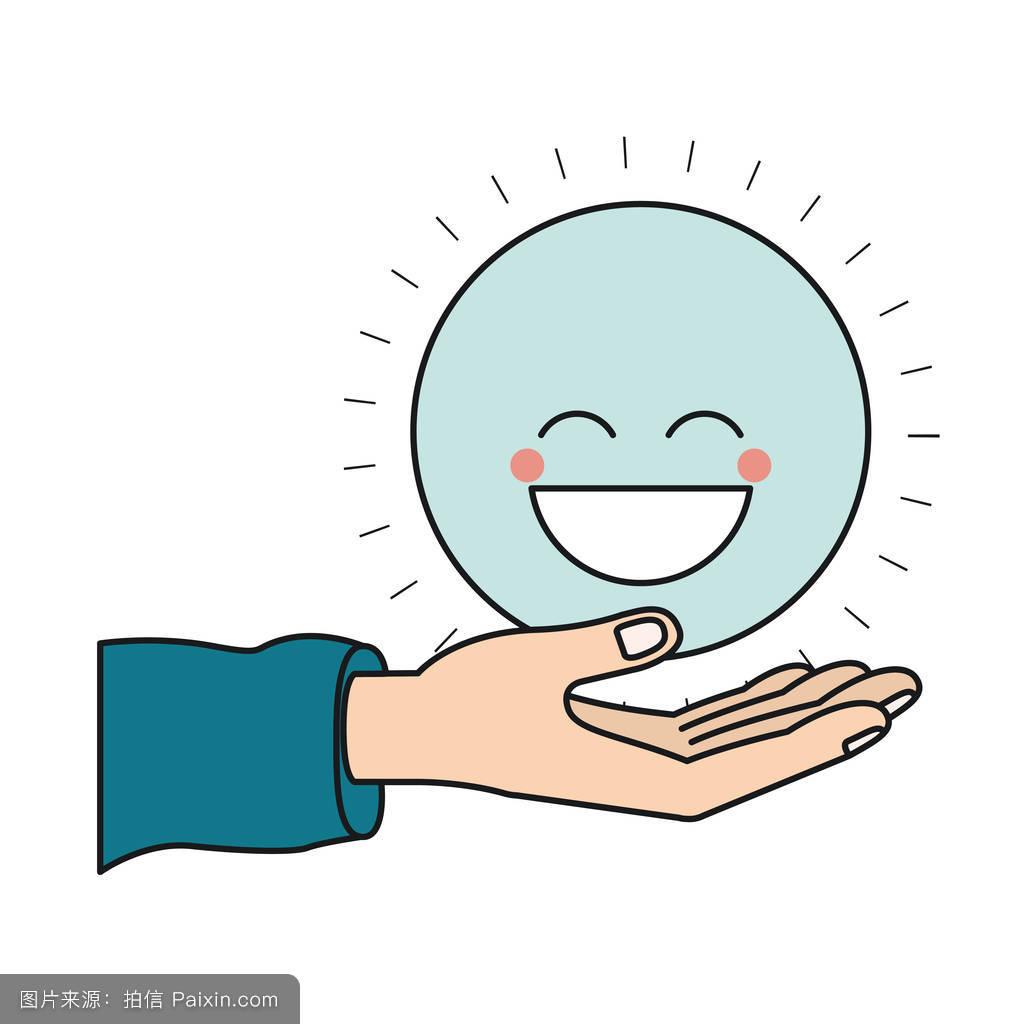 卡通,棕榈,蓝色,性格,符号,表情符号,捐赠,面对,慈善,笑,签名,笑脸图片