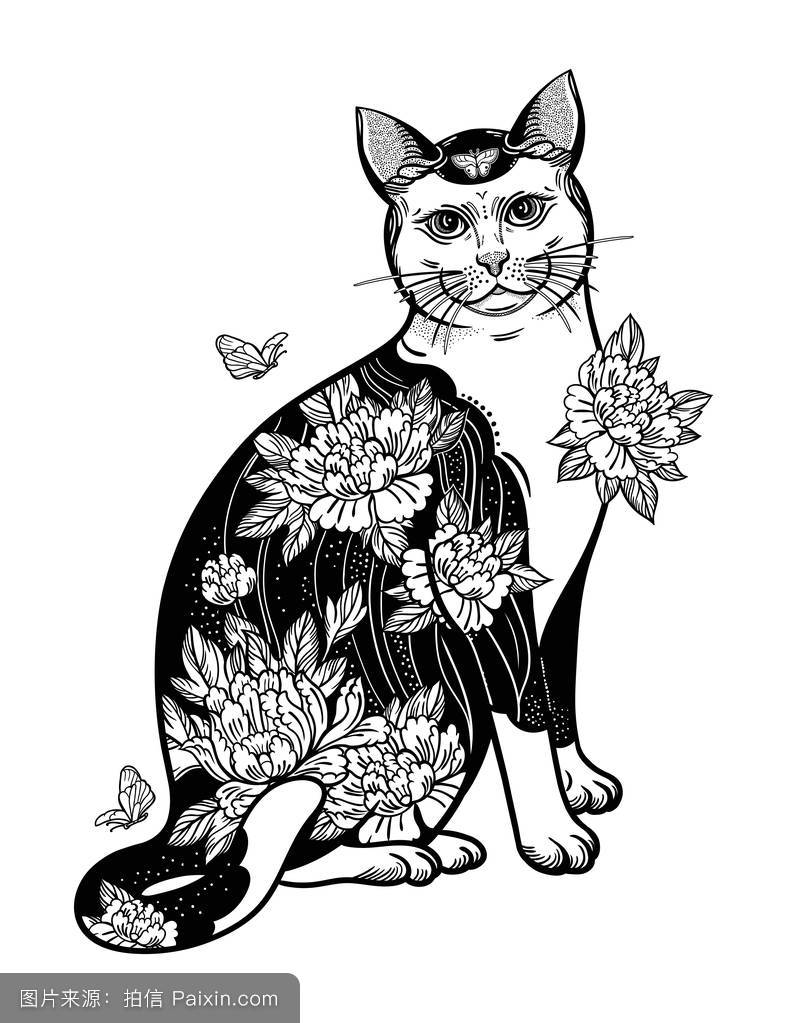 民间花卉猫蝴蝶纹身.图片