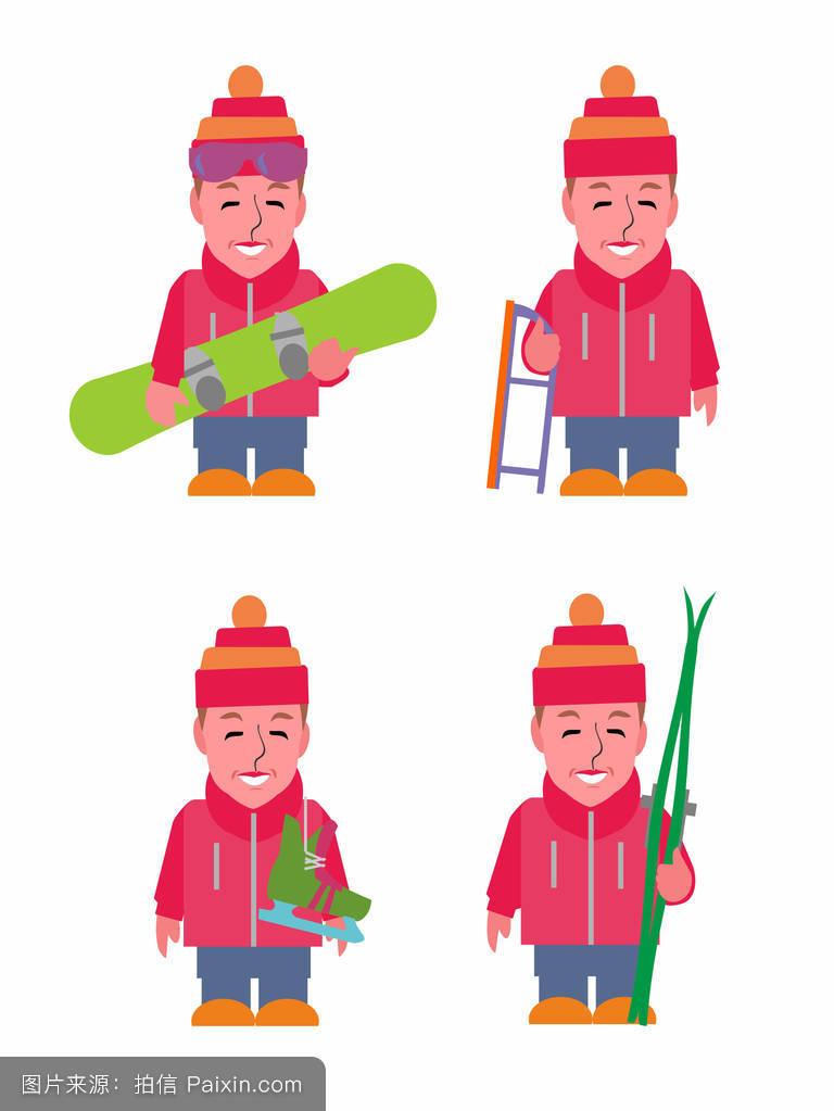 剪贴画冬季活动的人图片