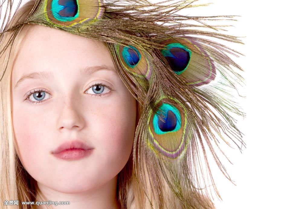 美女,孔雀,羽毛,头饰图片